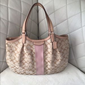 Large Coach Purse With Pink Signature Strip